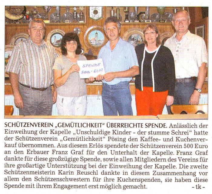 """Schützenverein """"Gemütlichkeit Pösing"""" überreicht Spende"""
