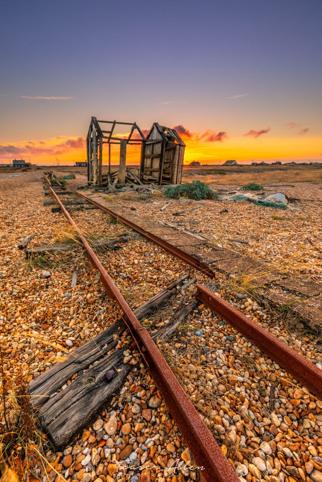 Dungeness shed at sunset