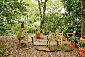sitting in garden