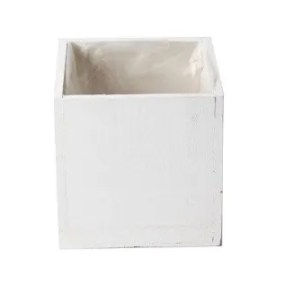Cassetta legno quadrata 12,5×12,5×11 cm bianco