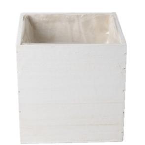 Cassetta legno quadrata 14x14x14 cm bianco