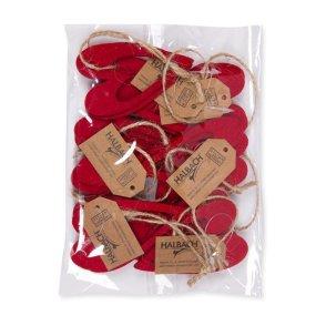 Confezione cuori feltro rosso 6 pz