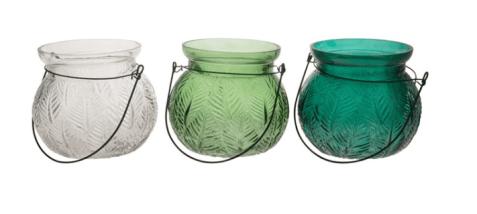Vasetto vetro portacandela con manico