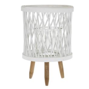 Lanterna in vetro con piedistallo in rattan 22x22x32 cm – bianco