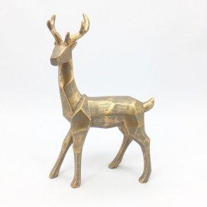 Cervo grigio foglia oro 24×8 H38 cm