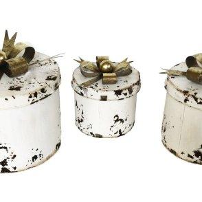 Scatole tonde metallo bianco con fiocco set 3 pezzi