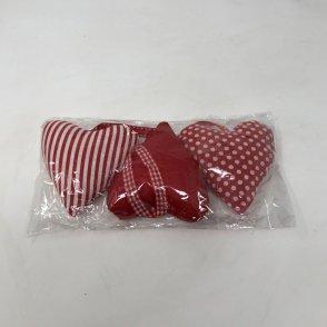 Cuori in panno 3pz rossi e bianchi