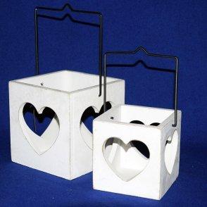 Lanterne legno bianco (S/2) con cuore