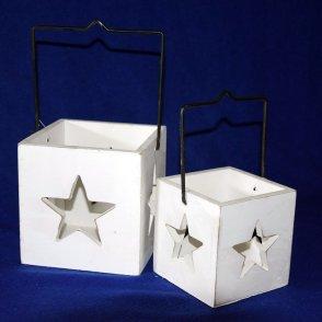 Lanterne legno bianco (S/2) con stella