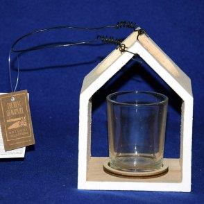 Porta candela legno/vetro