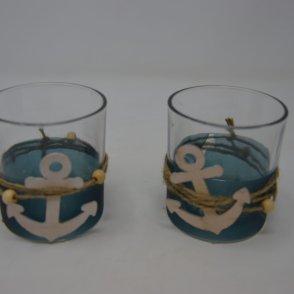 Vaso vetro con ancora 7,5×7,5x8cm mixed