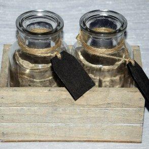 Cassetta legno grigia + 2 bottiglie vetro