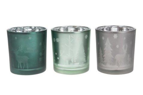 Portacandela in vetro smaltato - colori mix verde