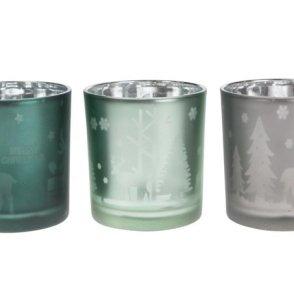 Portacandela in vetro smaltato – colori mix verde, oro, argento
