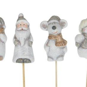Pick mini personaggi natalizi ceramica 4 versioni