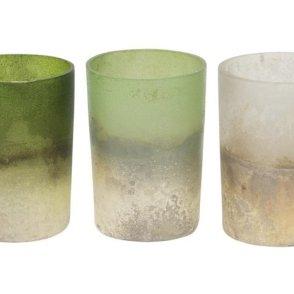 Portacandela cilindro in vetro – mix 3 colori