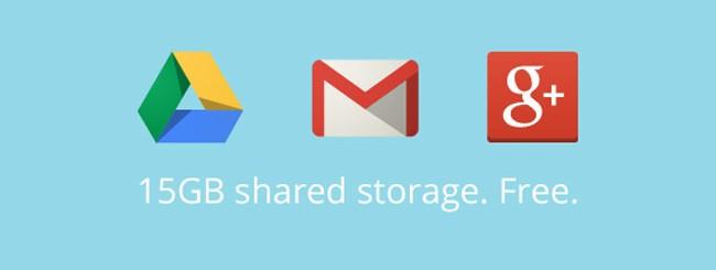 15 GB di spazio totale per Gmail, Google+ Foto e Drive