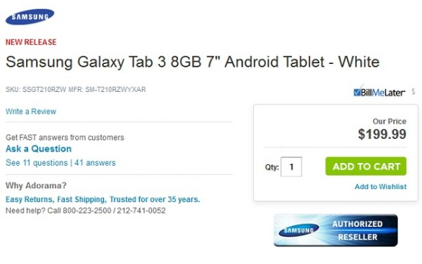Samsung Galaxy Tab 3 7.0: Prezzo svelato accidentalmente