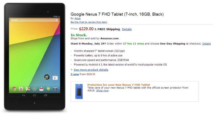 Nuovo Nexus 7 (2013) disponibile su Amazon
