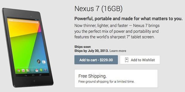 Nuovo Nexus 7: Ordine su Google Play Store USA