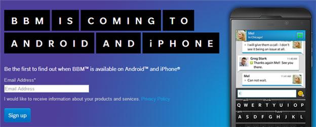 BlackBerry Messenger per Android e iPhone: Nuova pagina dedicata