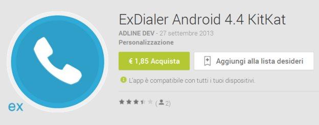 ExDialer Android 4.4 KitKat per personalizzare tastierino numerico