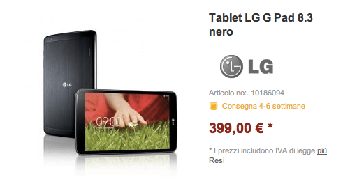 LG G Pad 8.3 a 399 euro in Germania