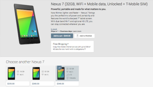 Disponibile Nexus 7 2013 LTE con 32 GB sul Play Store