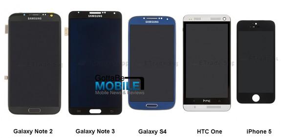 Confronto tra Samsung Galaxy Note 3 e Galaxy S4, HTC One, iPhone 5 e Note 2