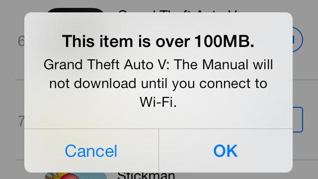 iOS 7: Scaricare applicazioni da 100 MB via 3G/4G