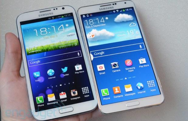 Confronto dimensioni e peso tra Galaxy Note 3, Galaxy Note 2 e Xperia Z Ultra