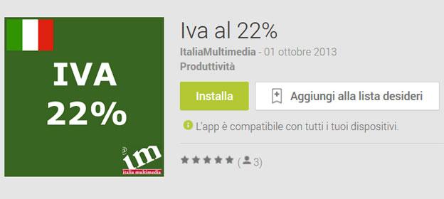 Iva al 22%: Applicazione Android per calcolare nuova IVA