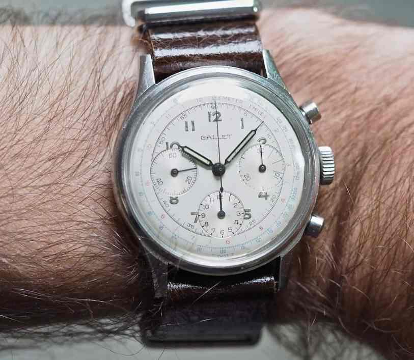 The white Gallet Multichron 12 on the wrist