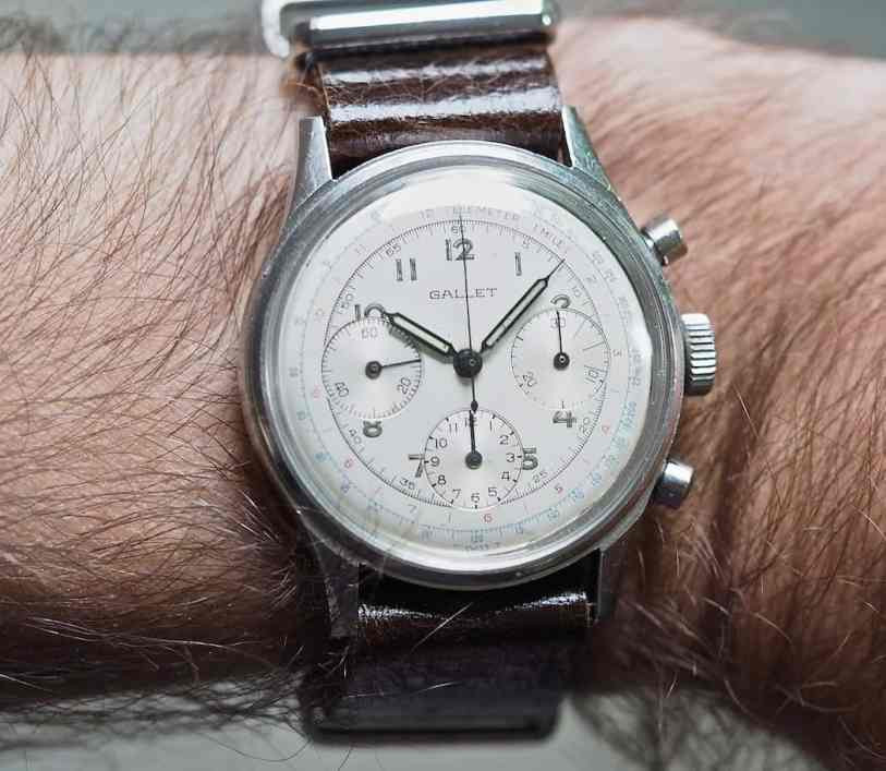 The white Gallet Multichron 12 on the wrist