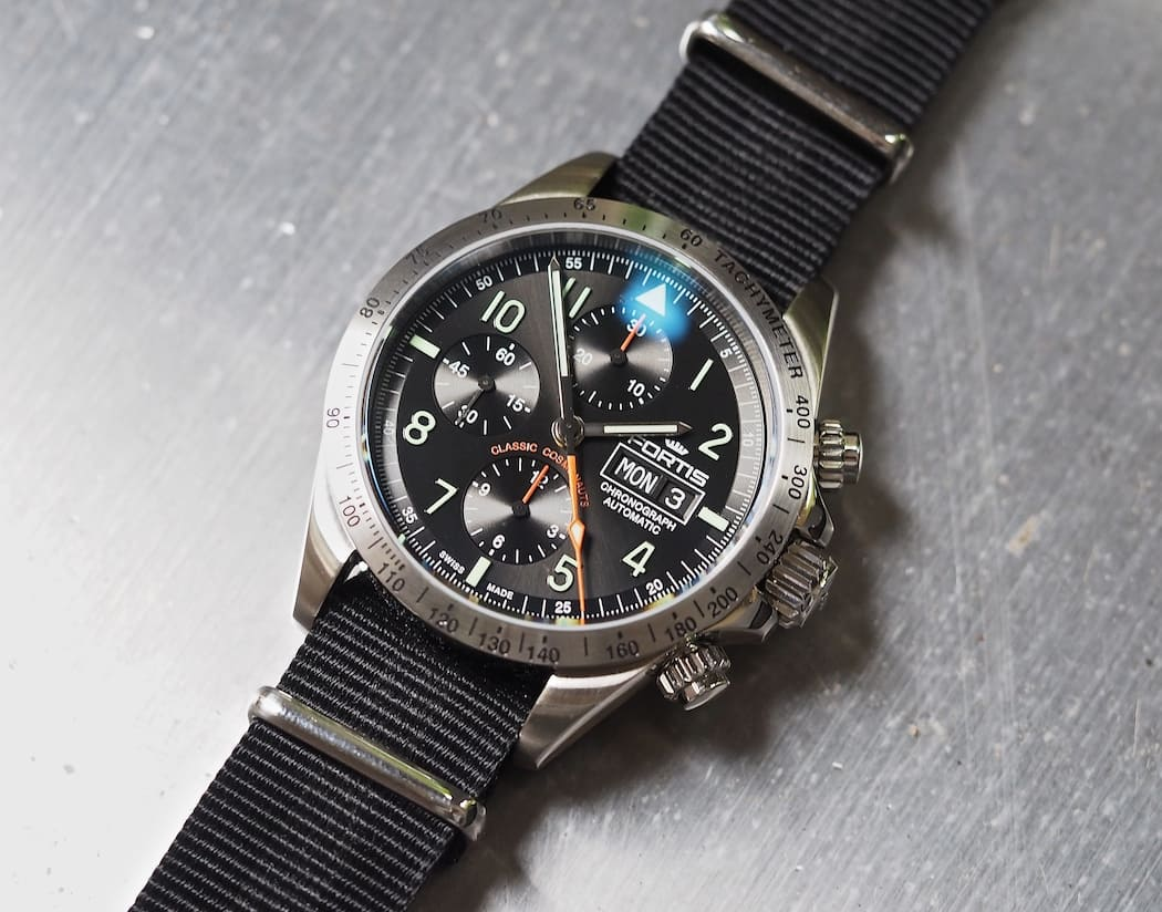 See the sunburst effect on the dial of the Fortis Classic Cosmonauts