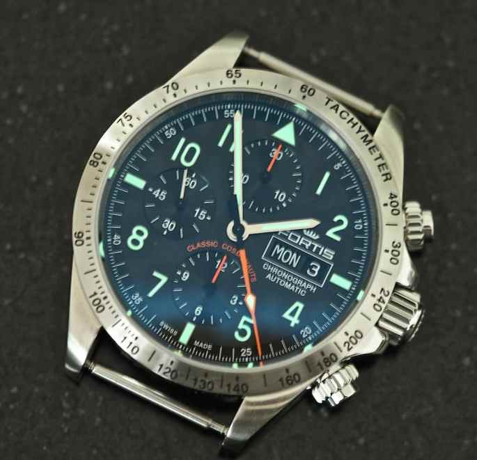 A look at the bright green lume on the dial of the Fortis Classic Cosmonauts