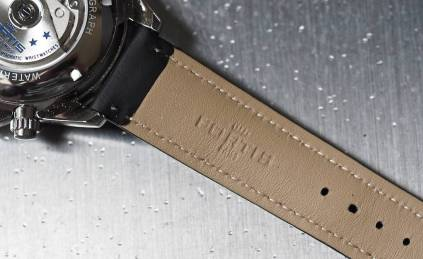 The backside of the leather strap on the Fortis Classic Cosmonauts