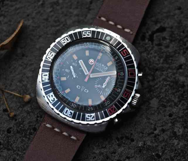The Roamer Stingray Chrono Diver sports a big bold bezel