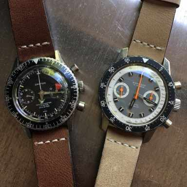 The Wakmann Big Boy and the Croton Chronomaster Aviator Sea Diver - two pieces that saw their cases used over and over long with different dials and movements