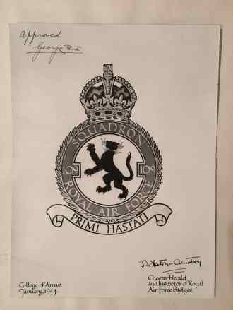 109 Squardron approval of crest personally approved and signed by King George VI and presented to FWW as Squdron Leader of 109-1