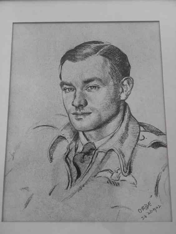 """The Orde Sketch portrait was commissioned by Bomber Command to record their """"Heroes"""" for Morale. Other notable Pilots that Orde drew included Lord Dundas (a close friend of Frank's and the last person to see him alive) and Douglas Bader."""