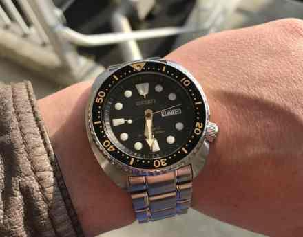 Seiko SRP775 on it's steel bracelet