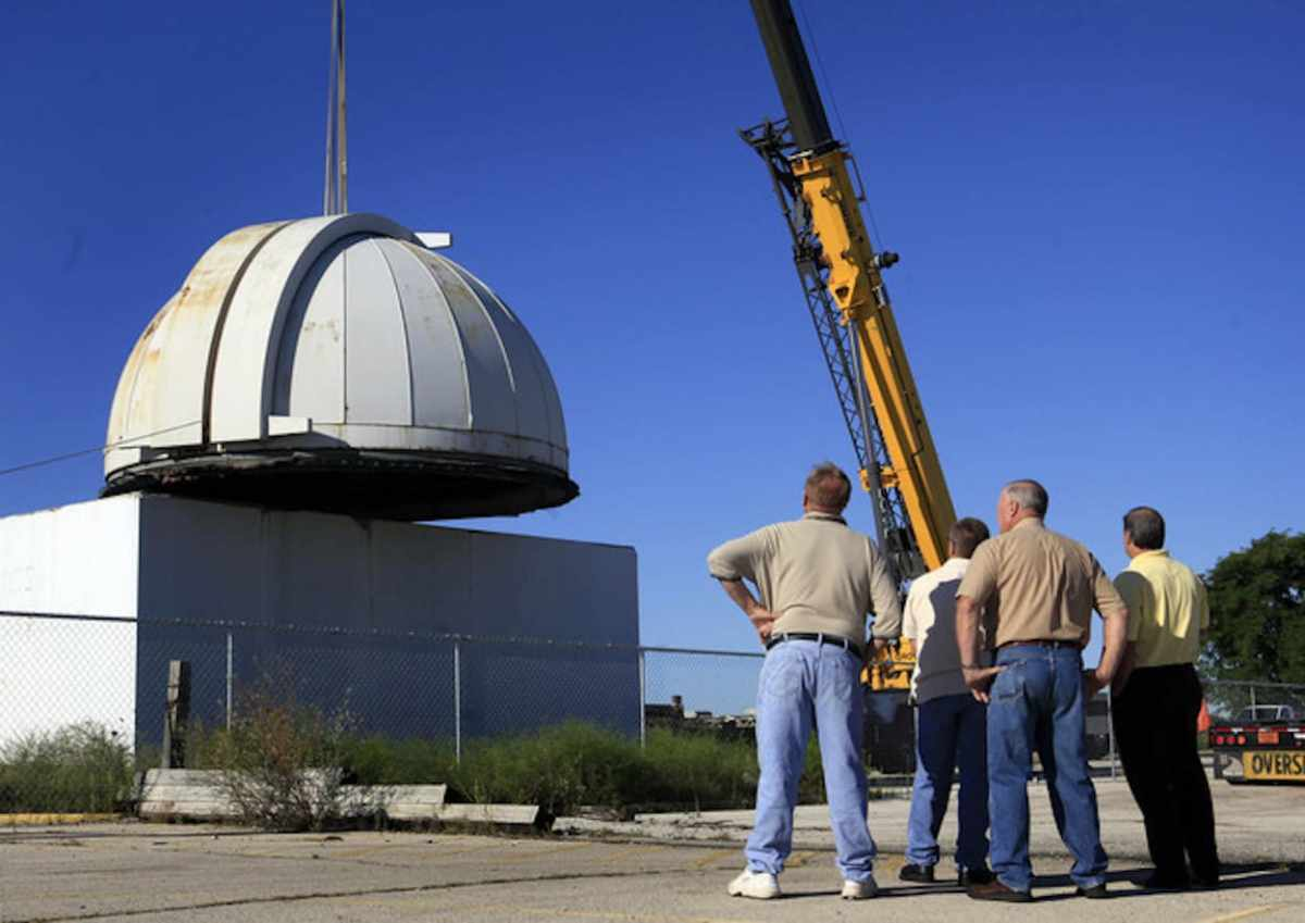 The observatory dome from the former Delphi Automotive plant in Oak Creek, Wisconsin where I used to visit.  This is where thousands of employees helped develop navigation systems for the Apollo missions. This dome was installed int he 1950's and monitored space flights. (PHOTO:KRISTYNA WENTZ-GRAFF / KWENTZ@JOURNALSENTINEL.COM)