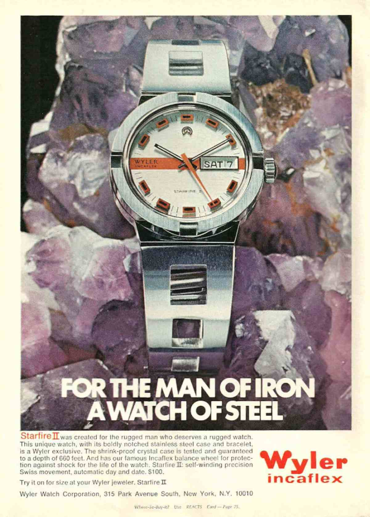 A Wyler ad discussing the warranty on its crystal