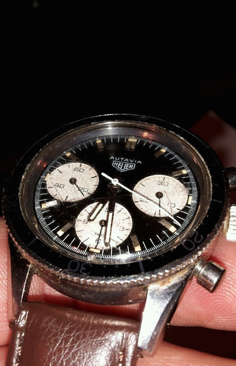 "Check out this Heuer Autavia 2446 ""Jochen Rindt"" that sold for roughly $13,500.  It's actually a stunner... (photo credit: seller on eBay.com)"
