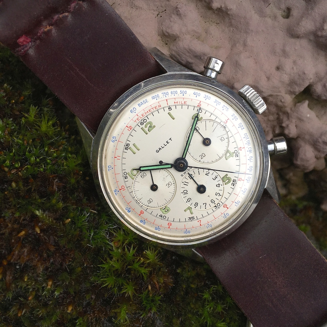 An early Gallet Multichon 12 with the Excelsior Park 40 movement - there can run about $1,000 below their black-dialed counterparts but are just as good, if not better in my opinion.