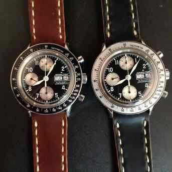 """A couple """"funky"""" Hamilton chronographs on Rover Haven Arts & Crafts straps"""
