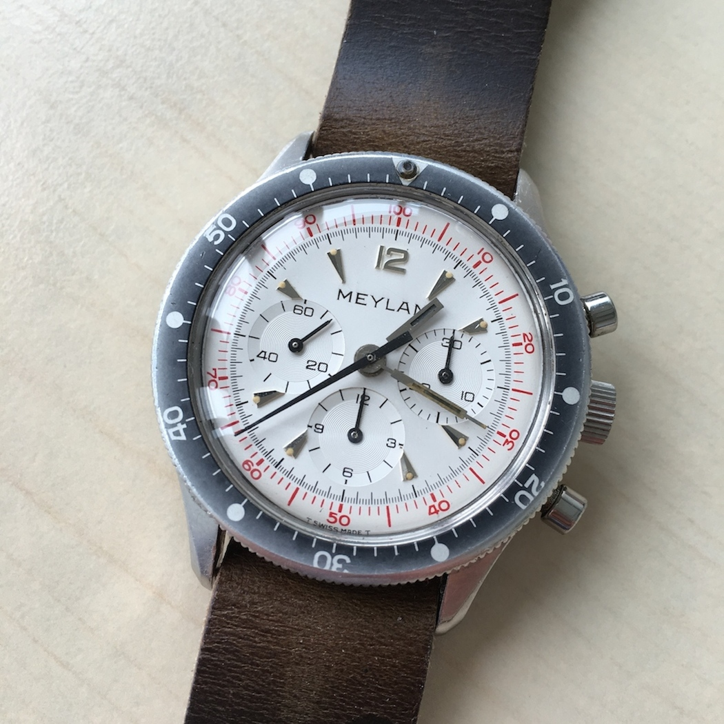 Note the great minute and hour hands on the Meylan Chronograph.