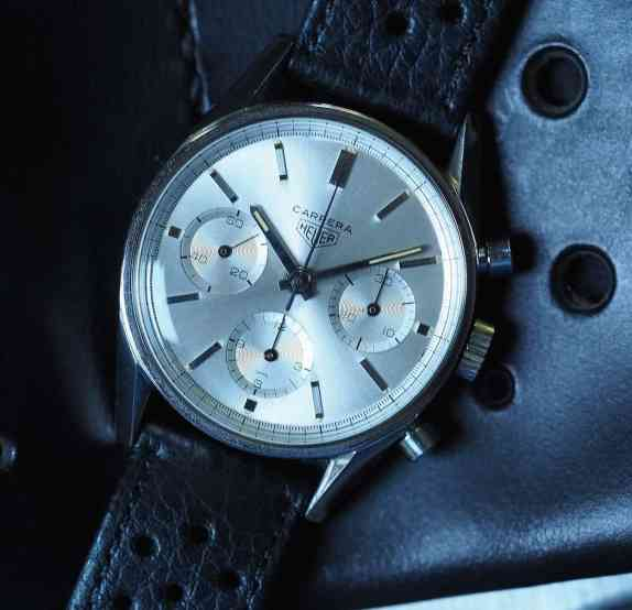 The Heuer Carrera 2447S on its watch roll
