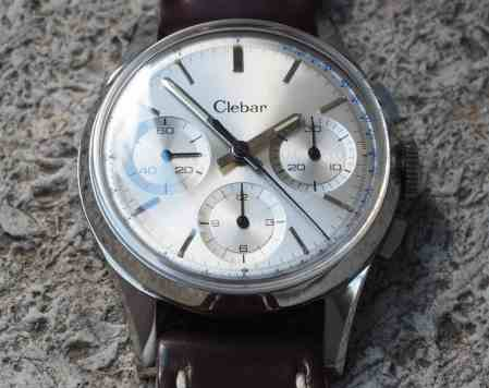 "Lovely sunken ""pie pan"" sub registers can be found on the Clebar chronograph"